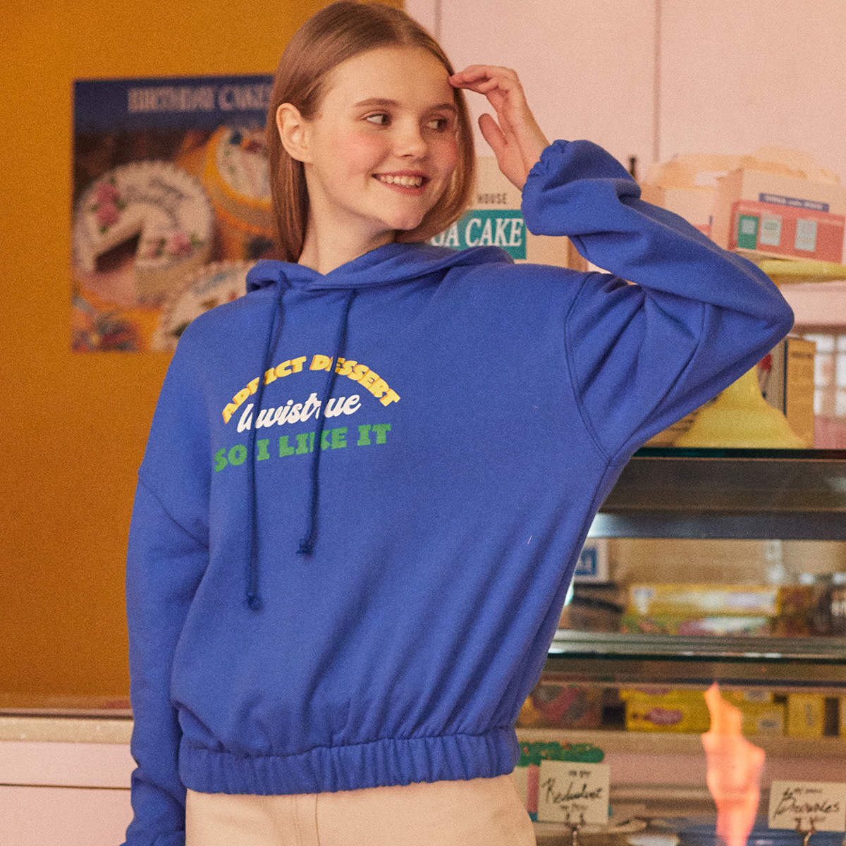 DE CROP HOODY(BLUE)