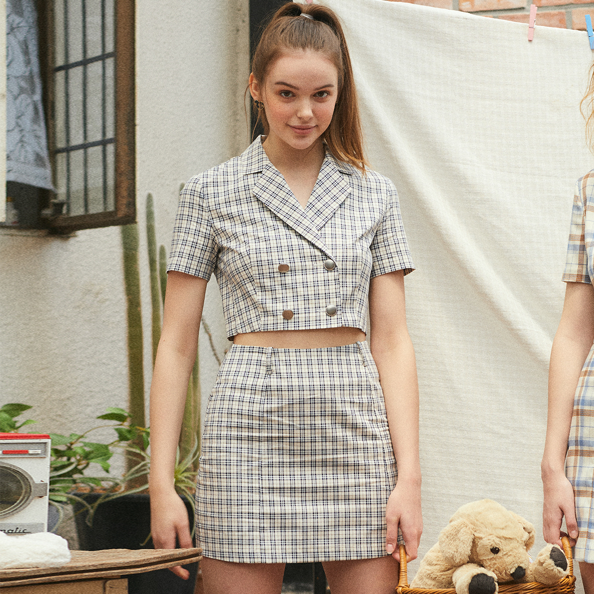 LU CHECK TWO PIECES SKIRT(NAVY)