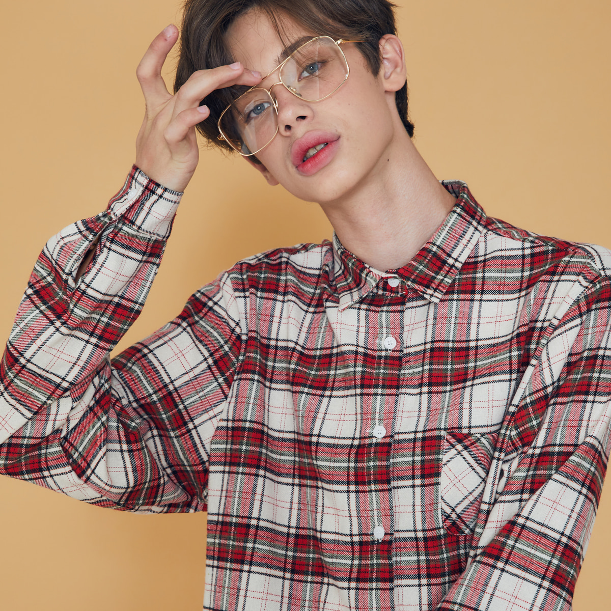 (UNISEX)DS CHECK SHIRT(RED)