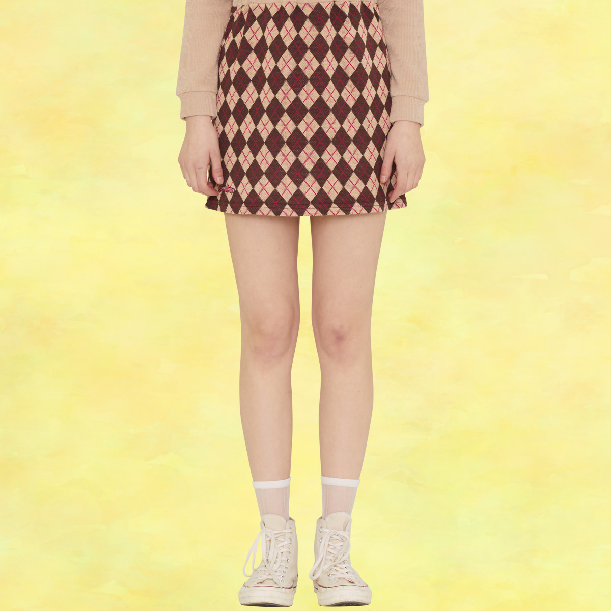 SZ SET UP KNIT SKIRT(BEIGE)
