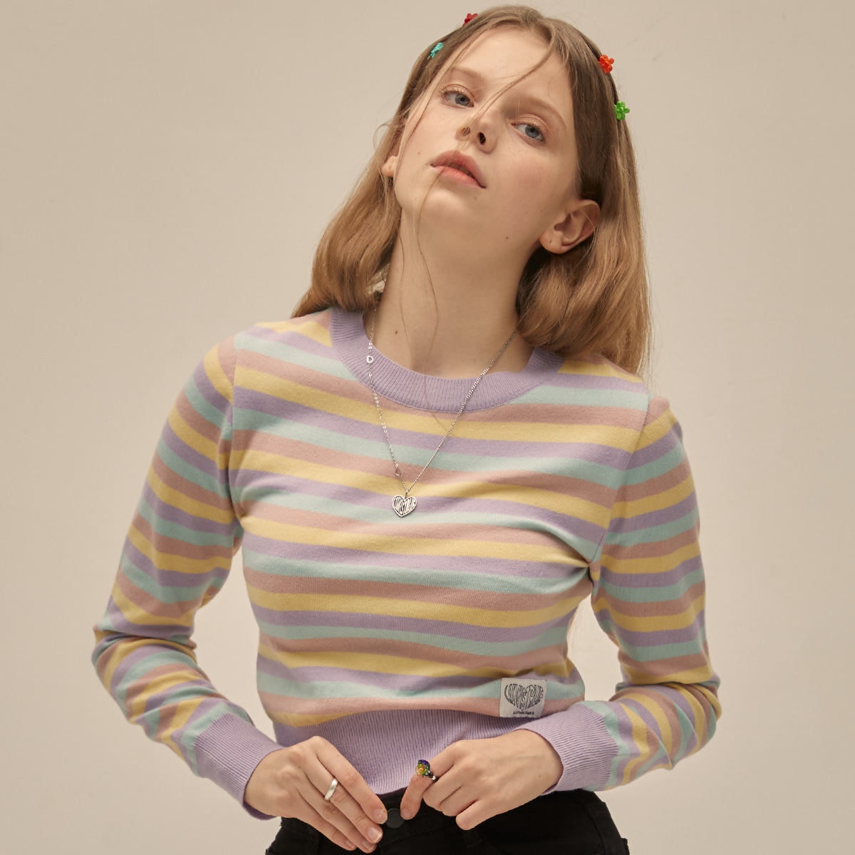 PO STRIPE KNIT(PURPLE)