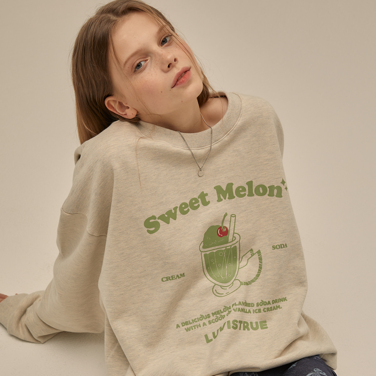 PO MELON SODA SWEATSHIRT(OATMEAL)
