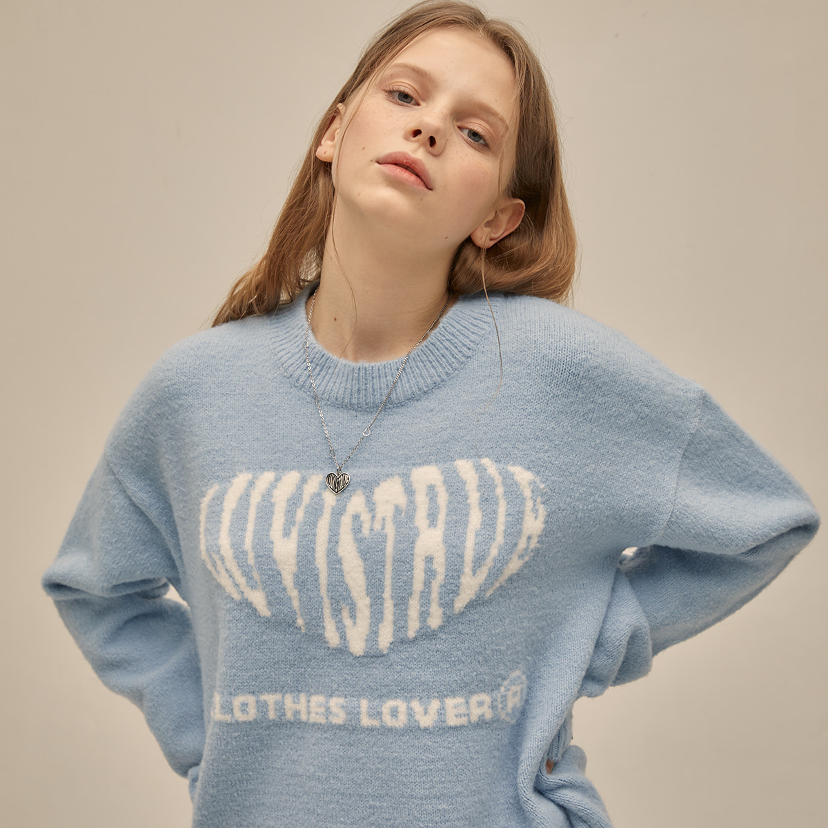 [11월02일 예약배송]PO HEART KNIT(SKY BLUE)