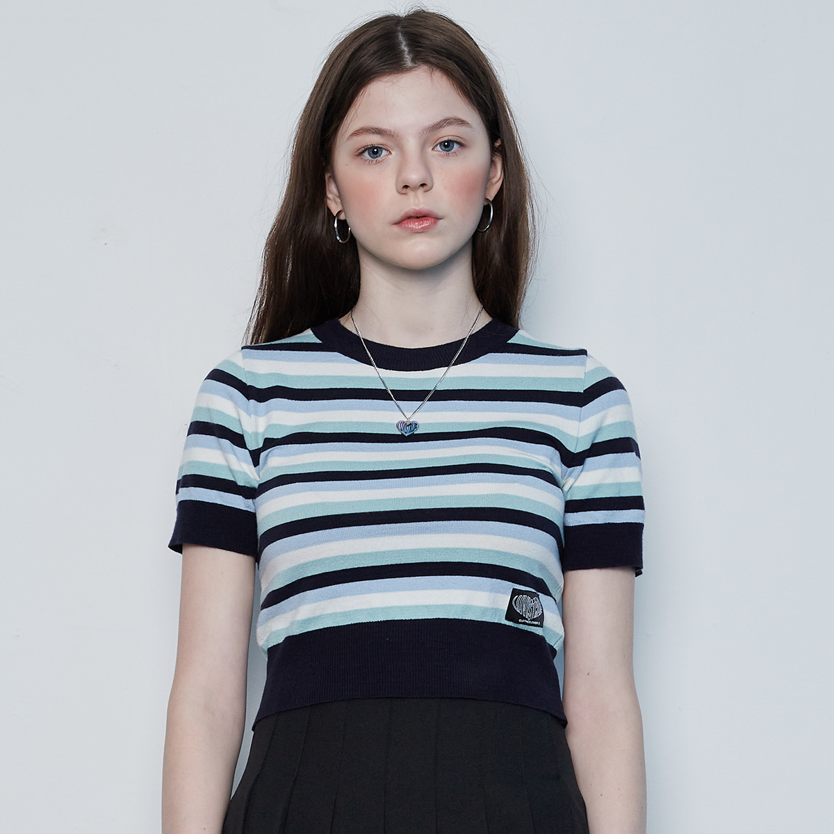 IN STRIPE CROP KNIT(NAVY)